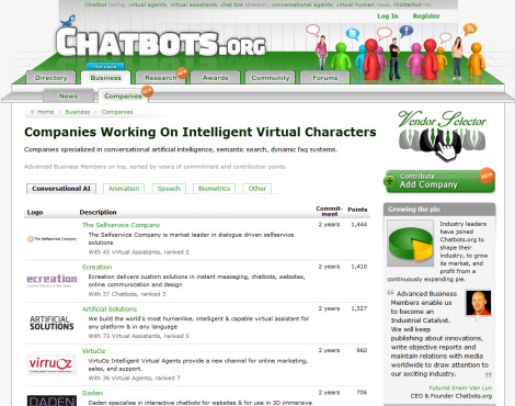 Chatbots.org 2.8 with Companies tab